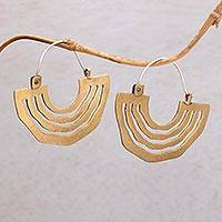 Brass hoop earrings, 'Ethnic Sunrise' - Brass Sunrise Hoop Earrings with Sterling Silver Ear Hooks