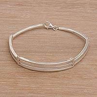 Men's sterling silver link bracelet, 'Ternion' - Men's Handmade Sterling Silver Bracelet from Bali