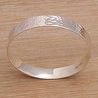 Sterling silver bangle bracelet, 'Celestial Reflection' - Handmade Sterling Silver Bangle Bracelet from Bali
