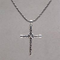 Sterling silver pendant necklace, 'Cross of Weaves' - Sterling Silver Cross Pendant Necklace Handcrafted in Bali