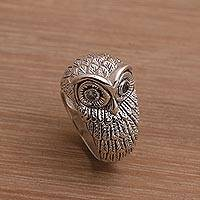 Blue topaz domed ring, 'Gazing Owl' - Bali Handmade Sterling Silver Owl Ring with Blue Topaz Eyes