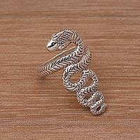 Sterling silver cocktail ring, 'Slinking Serpent' - Handmade 925 Sterling Silver Snake Cocktail Ring