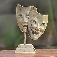 Wood statuette, 'Life's a Stage' - Crocodile Wood Tragedy and Comedy Drama Masks Statuette
