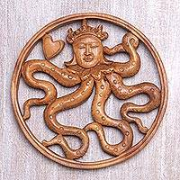 Wood wall relief panel, 'Octopus Queen' - Artisan Hand Carved Suar Wood Wall Relief Panel Octopus