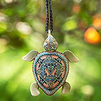 Polymer clay pendant necklace, 'Floating Turtle' - Handmade Polymer Clay Sea Turtle Pendant Necklace Indonesia