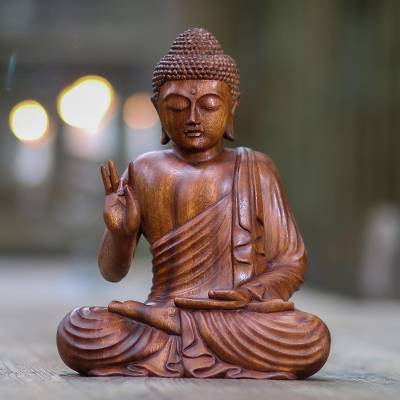 Wood statuette, Buddha Peace