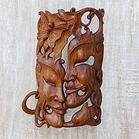 Wood mask, 'Nature's Romance' - Hand Crafted Balinese Suar Wood Wall Mask