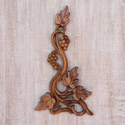 Wood relief panel, 'Grape Vine' - Suar Wood Grape Vine Relief Panel from Bali