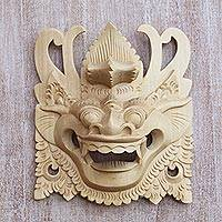 Wood mask, 'Barong Guardian' - Hand-Carved Crocodile Wood Wall Mask of Barong from Bali