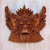 Wood mask, 'Royal Demon' - Acacia Wood Wall Mask of a Demon Queen from Bali