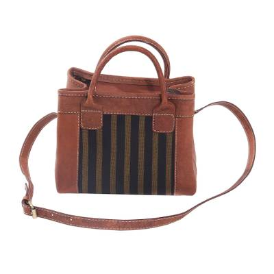 Handcrafted Cotton Accent Leather Handbag from Java