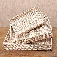 Ate grass and bamboo trays, 'Lombok Style' (set of 3) - Three Rectangular Natural Fiber Trays from Indonesia