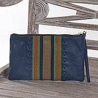 Leather and cotton wristlet, 'Casual Ikat in Blue' - Handmade Blue Leather and Cotton Wristlet Handbag from Java