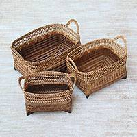 Ate grass and bamboo baskets, 'Senggigi Keepers in Brown' (set of 3) - Handwoven Natural Fiber Baskets in Brown from Indonesia