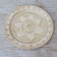 Ate grass and bamboo tray, 'Lombok Petals' - Lombok-Style Natural Fiber Tray from Indonesia