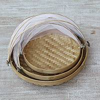 Ate grass and bamboo baskets, 'Dainty Weave' (set of 3) - Three Handwoven Ate Grass and Bamboo Baskets from Indonesia