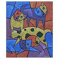 'Playful' - Signed Cubist Painting of Four Cats from Java