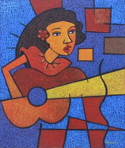 'Guitar Playing' - Signed Cubist Painting of a Guitarist from Java