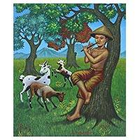 'Nature and Melodies' - Signed Painting of a Goat Herder Boy from Java