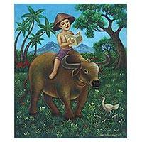 'Studying' - Original Painting of a Boy on a Buffalo from Java
