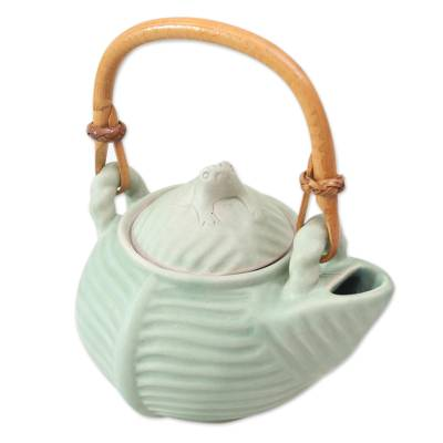 Ceramic teapot, 'Banana Frog' - Hand Crafted Green Ceramic Frog Motif Teapot