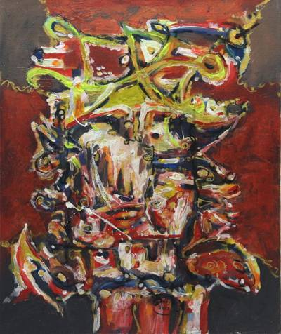 'Stay Strong' - Signed Abstract Oil Painting by an Indonesian Artist