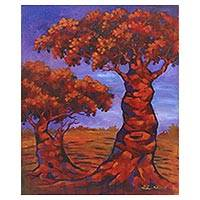 'Plumeria Sunset' - Signed Impressionist Painting of Two Trees from Java