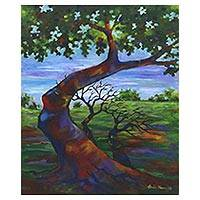 'Dewandaru Tree' - Signed Impressionist Painting of a Dewandaru Tree from Java
