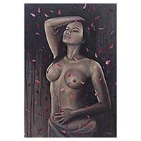 'Bathe in Petals' - Painting of a Nude Woman with Flower Petals from Java