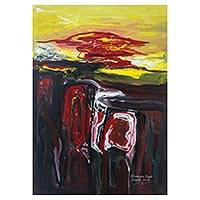'Storm On the Cliff' - Signed Abstract Painting by a Balinese Artist
