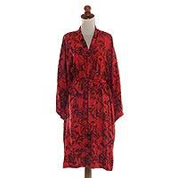 Rayon batik short robe, 'Adoration' - Red and Black Rayon Hand Crafted Floral Batik Short Robe