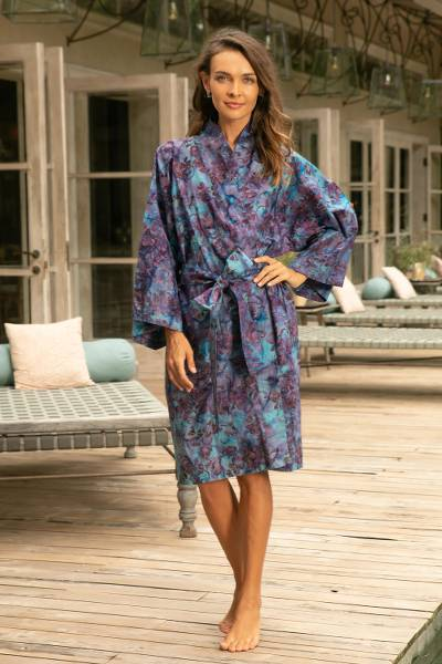 Cotton batik short robe, 'Floating Flowers' - Shades of Blue Cotton Hand Crafted Floral Batik Short Robe