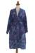 Cotton batik short robe, 'Floating Flowers' - Shades of Blue Cotton Hand Crafted Floral Batik Short Robe (image 2a) thumbail