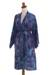 Cotton batik short robe, 'Floating Flowers' - Shades of Blue Cotton Hand Crafted Floral Batik Short Robe (image 2c) thumbail