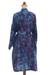 Cotton batik short robe, 'Floating Flowers' - Shades of Blue Cotton Hand Crafted Floral Batik Short Robe (image 2d) thumbail