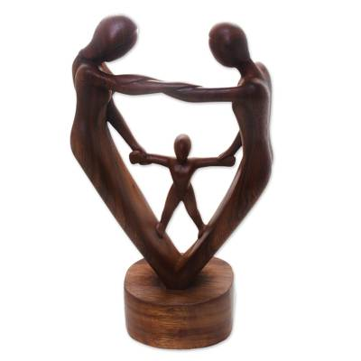 Hand-Carved Parents and Child Blessing Suar Wood Statuette