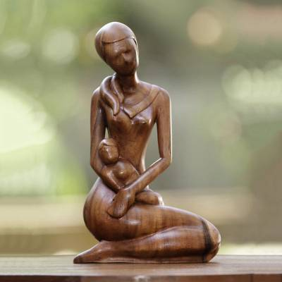 Wood statuette, 'Mother's Gift' - Mother and Child Hand Carved Suar Wood Sculpture