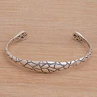 Sterling silver cuff bracelet, 'Stronger Together' - Patterned Sterling Silver Cuff Bracelet from Bali