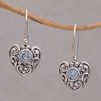 Blue topaz dangle earrings, 'Marry Me' - Heart-Shaped Blue Topaz Dangle Earrings from Bali