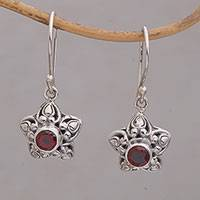 Garnet dangle earrings, 'Stellar Sparkle' - Star-Shaped Garnet Dangle Earrings from Bali