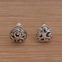 Sterling silver stud earrings, 'Dreamy Spirals' - Spiral Motif Circular Sterling Silver Earrings from Bali