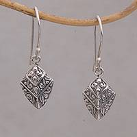 Sterling silver dangle earrings, 'Divine Crests' - Intricate Sterling Silver Dangle Earrings Crafted in Bali