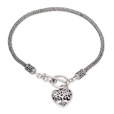 Sterling silver charm bracelet, 'Plant a Seed' - Sterling Silver Heart and Tree Charm Bracelet from Bali