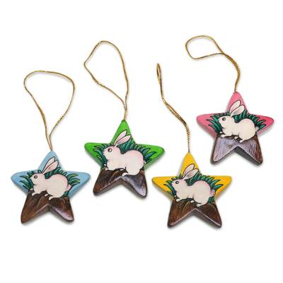 Balinese Hand Painted Bunny Rabbit Star Ornaments (Set of 4)