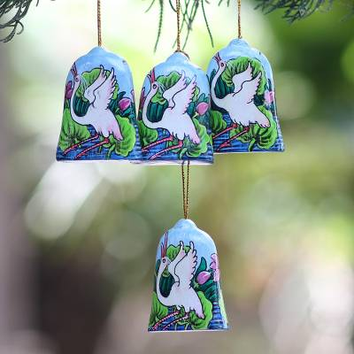 Wood holiday ornaments, 'Heron Lake' (set of 4) - Hand Made Heron at Lakeside Holiday Ornaments (Set of 4)