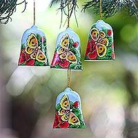 Wood ornaments, 'Bells and Butterflies' (set of 4) - Hand Painted Bell Ornaments with Butterflies (Set of 4)