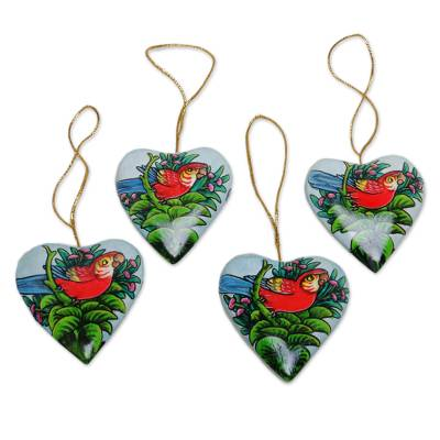 4 Hand Painted Heart Ornaments with Scarlet Macaws