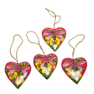 4 Hand Painted Balinese Heart Ornaments with Dragonflies