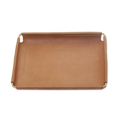 Javanese Handcrafted 7.25 Inch Caramel Leather Catchall
