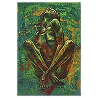 'Passion' - Expressionist Painting of a Nude Woman in Green from Java